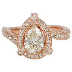 Suzy Levian 18 Karat Rose Gold Pear-Cut Natural Yellow Diamond Engagement Ring