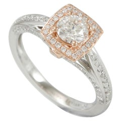Suzy Levian 18 Karat Two-Tone Gold Diamond Halo Ring
