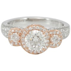 Suzy Levian 18 Karat Two-Tone White and Rose Gold Round Diamond Engagement Ring