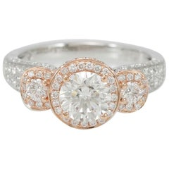 Suzy Levian 18 Karat Two-Tone White and Rose Gold Round Diamond Ring