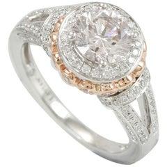Suzy Levian 18 Karat Two-Tone White and Rose Gold Round White Diamond Ring
