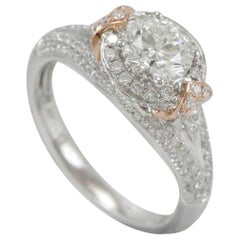 Suzy Levian 18 Karat Two-Tone White and Rose Gold Round White Diamond Ring