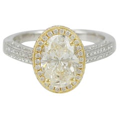 Suzy Levian 18 Karat Two-Tone White and Yellow Gold Oval Diamond Engagement Ring