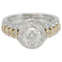 Suzy Levian 18 Karat Two-Tone White and Yellow Gold Round Diamond Ring