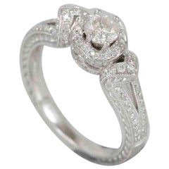Suzy Levian 18 Karat White Gold Diamond Engagement Ring