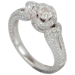 Suzy Levian 18 Karat White Gold Diamond Engagement Ring