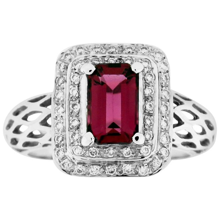 Suzy Levian 18 Karat White Gold Emerald-Cut Ruby and Diamond Engagement Ring For Sale
