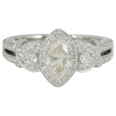 Suzy Levian 18 Karat White Gold Marquise-Cut Yellow Diamond Engagement Ring