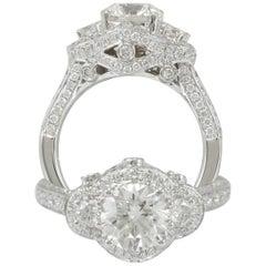 Suzy Levian 18 Karat White Gold Round Diamond Engagement Ring