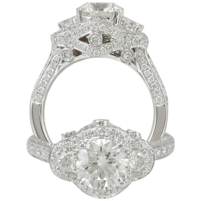 Suzy Levian 18 Karat White Gold Round Diamond Engagement Ring For Sale