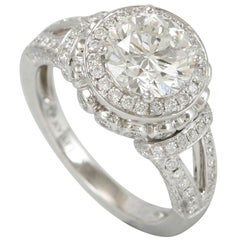 Suzy Levian 18 Karat White Gold Round White Diamond Engagement Ring
