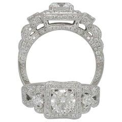Suzy Levian 18 Karat White Gold Round White Diamond Engagement Ring