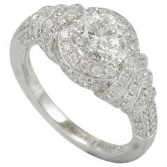 Suzy Levian 18 Karat White Gold Round White Diamond Halo Engagement Ring