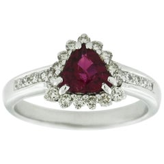 Suzy Levian 18 Karat White Gold Trillion-Cut Ruby and Diamond Ring