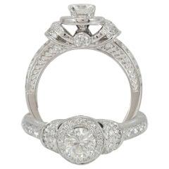 Suzy Levian 18 Karat White Gold White Diamond Bridal Engagement Ring