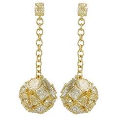 Suzy Levian 18 Karat Yellow Gold Multi-Cut Yellow Diamond Dangling Earrings