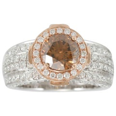 Suzy Levian 18K Two-Tone White & Rose Gold Round Brown & White Diamond Ring