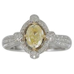 Suzy Levian 18K Two-Tone White & Yellow Gold Oval Yellow & White Diamond Ring