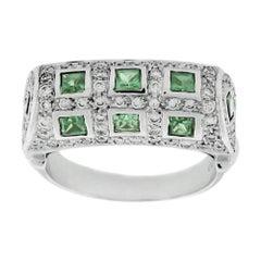 Suzy Levian 18K White Gold Asscher-Cut Tsavorite Garnet White Diamond Ring