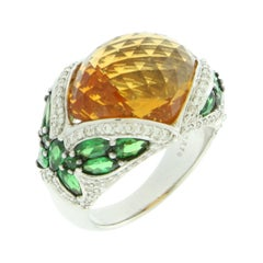 Suzy Levian 18K White Gold Cabochon-Cut Citrine and Tsavorite Cocktail Ring