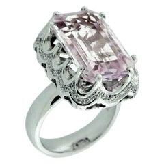Suzy Levian 18K White Gold Emerald-Cut Kunzite and White Diamond Ring