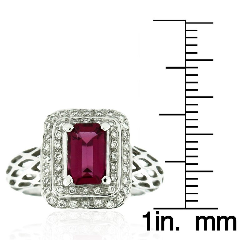 Contemporary Suzy Levian 18 Karat White Gold Emerald-Cut Ruby and Diamond Engagement Ring For Sale