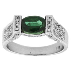 Suzy Levian 18K White Gold Oval-Cut Green Tourmaline and White Diamond Ring