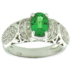 Suzy Levian 18K White Gold Oval-Cut Green-Tsavorite White Diamond Bridal Ring