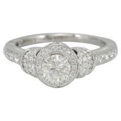 Suzy Levian 18K White Gold Round White Diamond Bridal Engagement Ring