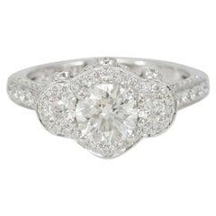 Suzy Levian 18K White Gold Round White Diamond Engagement Ring