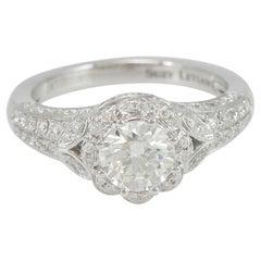 Suzy Levian 18K White Gold Round White Diamond Halo Engagement Ring
