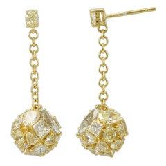 Suzy Levian 18k Yellow Gold and Yellow Diamond Multi-Cut Cluster Dangle Earring