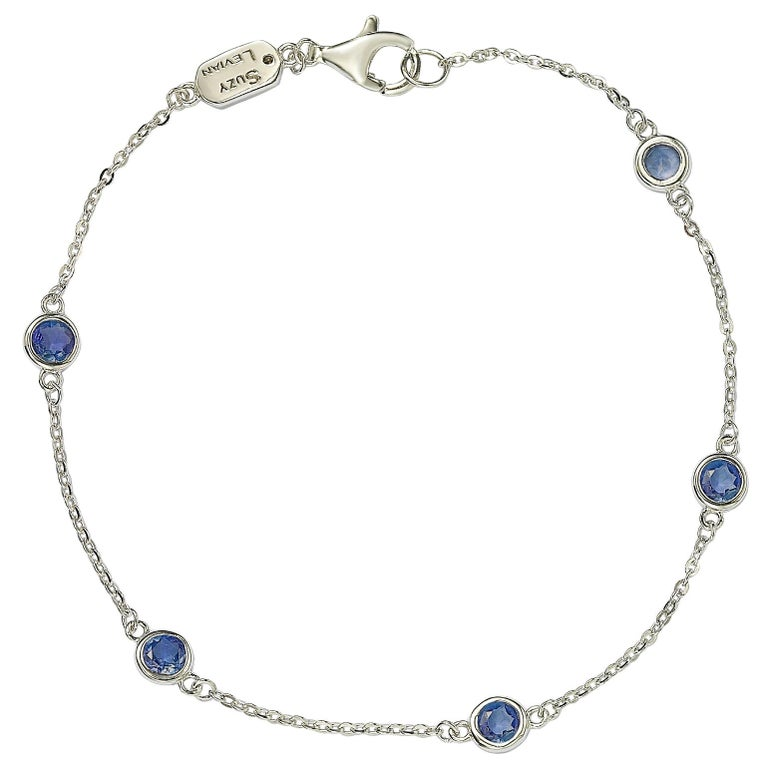 Suzy Levian Sterling Silver Bezel Set Sapphire Station Bracelet For Sale