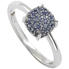 Suzy Levian Sterling Silver Sapphire and Diamond Accent Pave Ball-Top Ring