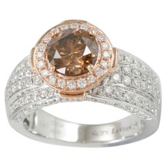 Suzy Levian Two-Tone 18 Karat Gold Brown and White Diamond Bridal Ring