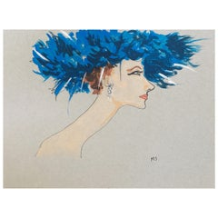 Suzy Parker in a Blue Hat, One of a Kind Watercolor Signed by the Artist