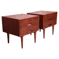 Svante Skogh for Seffle Swedish Modern Teak and Brass Nightstands, Restored