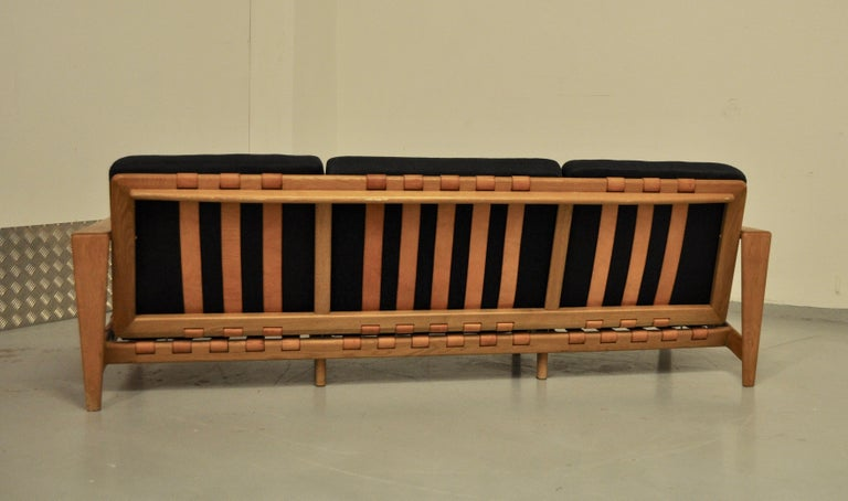 Svante Skogh Sofa Leather Structure, 1950 In Good Condition For Sale In Paris, FR