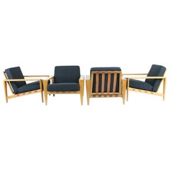 "Svante Skogh, Two Pairs of ""Bodö"" Lounge Chairs. Swedish 1950s with Oak Frame"