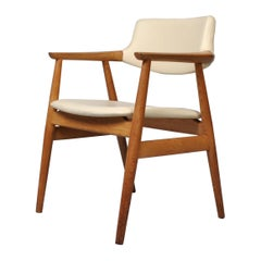 Sven Aage Eriksen Armchair, Oak and White Leather