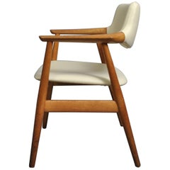 Sven Aage Eriksen Armchair, Reupholstered in White Leather