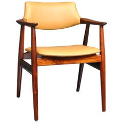 Sven Aage Eriksen Rosewood Desk Chair, All New Leather Upholstery