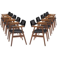 Sven Aage Eriksen Set of Ten Reupholstered Dining Chairs, Denmark, 1960s