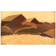 Sven Angborn, Swedish Artist, Oil on Board, Modernist Landscape