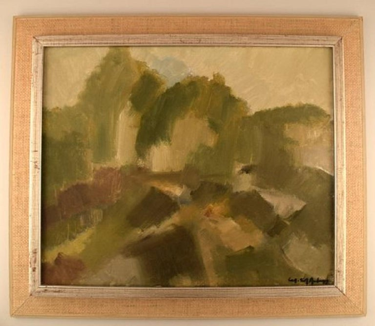 Sven Angborn (1925-), Swedish artist. Oil on canvas. Modernist landscape, 1960s. In excellent condition. Signed. The board measures: 60 x 49 cm. The frame measures: 7.5 cm.