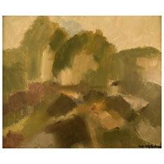 Sven Angborn '1925-', Swedish Artist, Oil on Canvas, Modernist Landscape