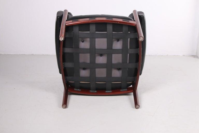 Mid-Century Modern Sven Ellekaer for Coja black leather armchair 1970s
