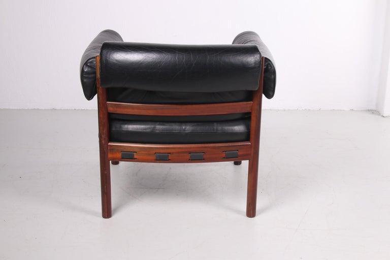 Sven Ellekaer for Coja black leather armchair 1970s In Good Condition In Oostrum-Venray, NL