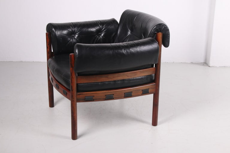 Late 20th Century Sven Ellekaer for Coja black leather armchair 1970s