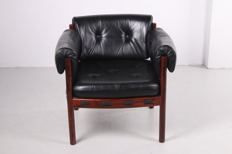 Leather Sven Ellekaer for Coja black leather armchair 1970s